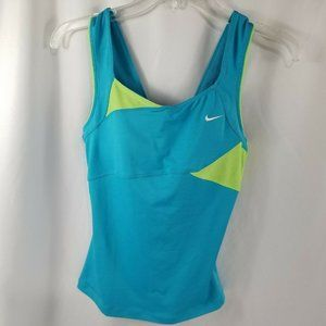 NIKE Dri- Fit Womens Active Top Blue Green Size SP